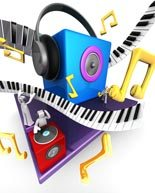 Colorful musical world stage with speaker piano 3d illustration